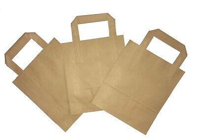 200 Small Brown Kraft Paper Carrier Takeaway Bags 18 x 23 x 9 cm