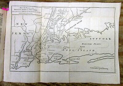 Original 1776 REVOLUTIONARY WAR MAP & text describing THE BATTLE OF LONG ISLAND