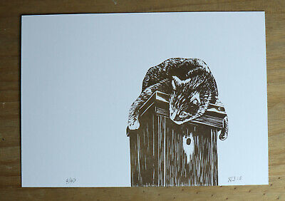 Cat crouched on a Birds House Linocut, Animals, Gifts, Original byJabore