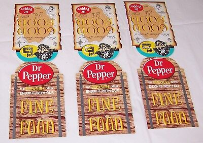 3 Vintage Dr Pepper Soda Pop Advertising Restaurant Table Advertisement Cards