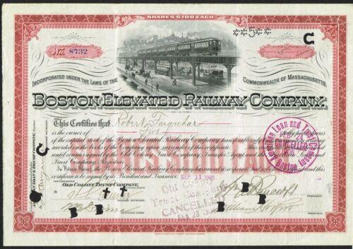 USA BOSTON ELEVATED RAILWAY  bond/stock certificate  1908