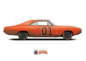 General Lee Car The Dukes of Hazzard 1969 Dodge Charger(DIRTY VERSION) A3 Poster