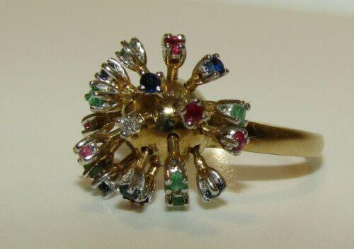 FABULOUS, VINTAGE, 9 CT GOLD MULTIGEM SPUTNIK RING
