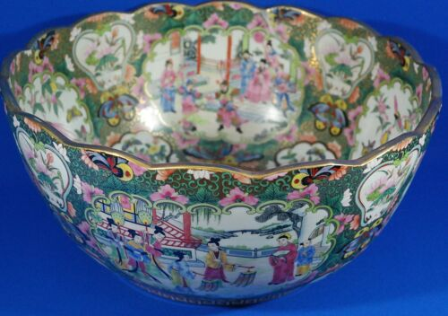 """Antique Chinese Rose Medallion Scalloped Porcelain Bowl Qianlong Stamped 16"""""""