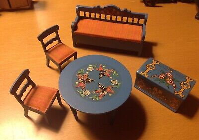 Vintage Lundby Suit Carolines Home Dolls House Blue Wooden Leksand Unit 16th