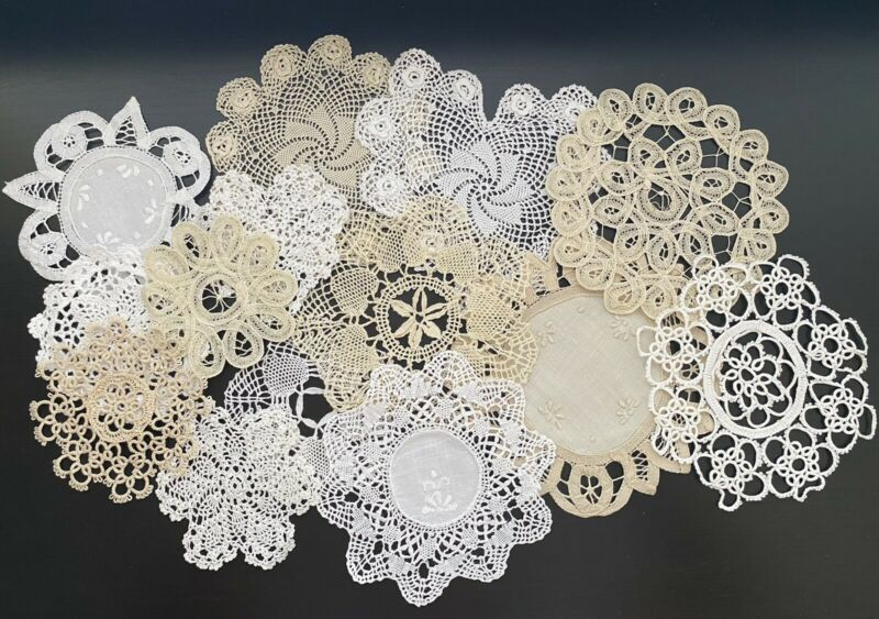 Handmade Crochet Doilies 14 Pieces NEW