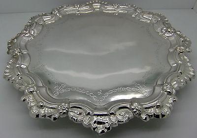 Rare GENUINE 18th Century PORTUGUESE SOLID SILVER SALVER/TRAY.32cm OPORTO c1780