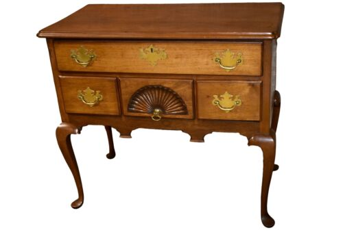 Vintage Handmade Mahogany Queen Anne Style Lowboy