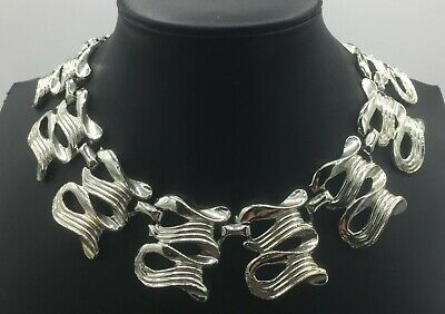 60s -70s Jewelry – Necklaces, Earrings, Rings, Bracelets Vintage Silver Tone Chunky Adjustable Necklace Mid Century 1950's 1960's $27.99 AT vintagedancer.com