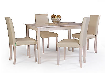 Polo White Oak Effect Wooden Dining Table and 4 High Back Chair Set
