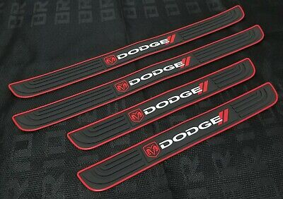 4PCS Black Rubber Car Door Scuff Sill Cover Panel Step Protector For Dodge ()