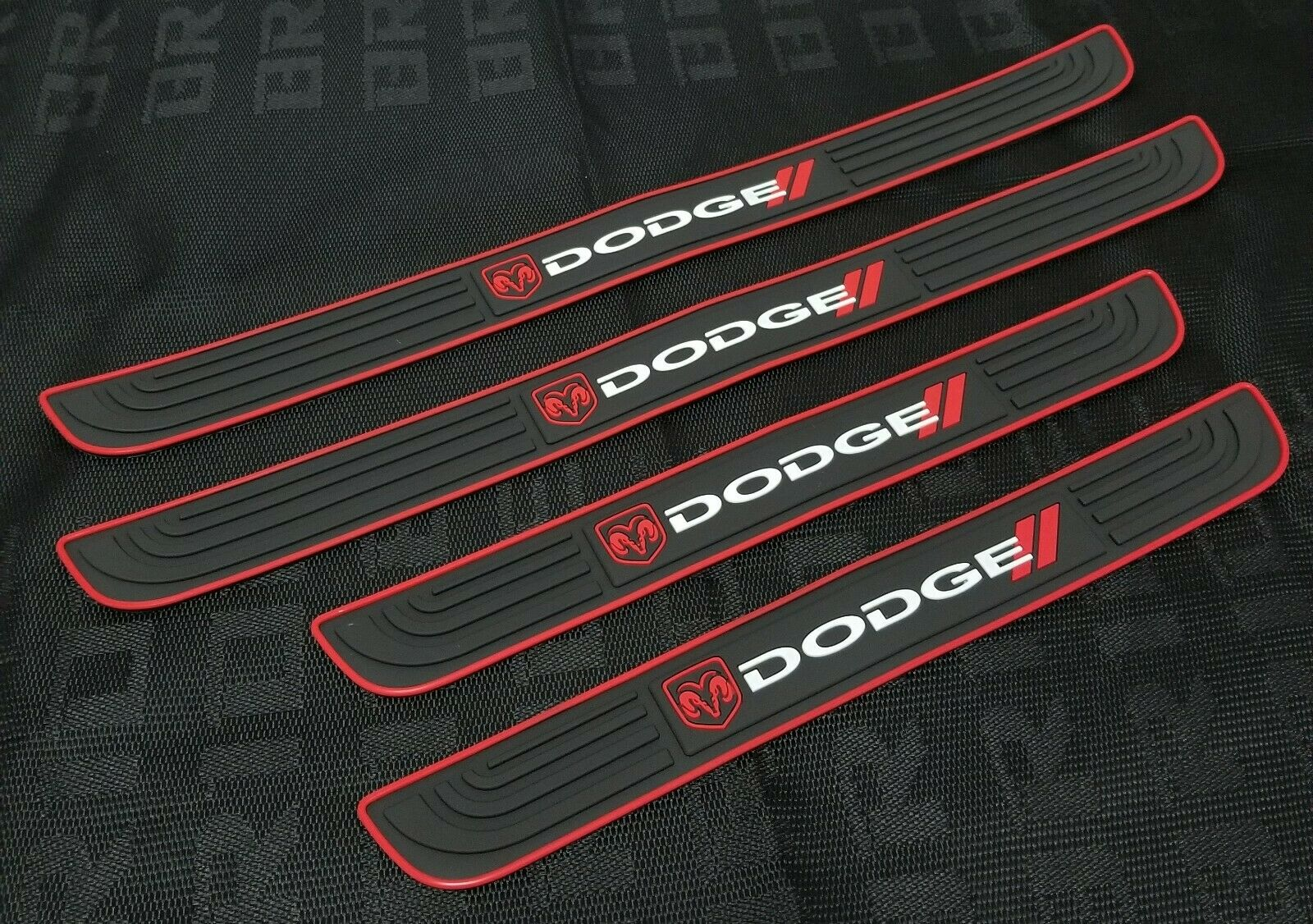Car Parts - 4PCS Black Rubber Car Door Scuff Sill Cover Panel Step Protector For Dodge