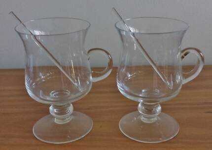 Pair of 1970s vintage cocktail glasses with swizzle sticks Elanora Heights Pittwater Area Preview