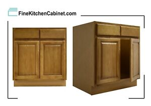 All Wood RTA Country Oak Sink Base Cabinet SB24 Ready To Assemble Kitchen
