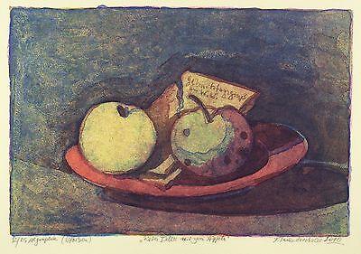 KLAUS DRECHSLER - Roter Teller mit zwei Äpfeln - Farbalgrafie 2010