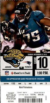 Jacksonville Jaguars New England Patriots 12/23/12 Full Ticket Tom Brady 2 TD's