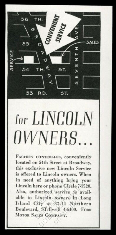1935 Lincoln car Manhattan New York City dealership service vintage print ad