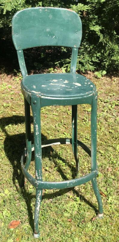 Vintage Cosco Metal Kitchen Chair Bar Stool 1950s Green