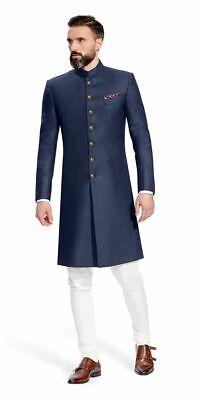 Hombres Tradicional Boda India Achkan Estilo Diseñador Sherwani Pijama Kurta