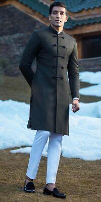 Hombres Boda India Achkan Diseñador Premium Negro Novios Sherwani Pijama Kurta