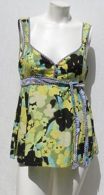 Baby Doll Tunic Tank - FREE PEOPLE Green Black Floral Print Baby Doll Shirt Tunic Tank Top size S 6