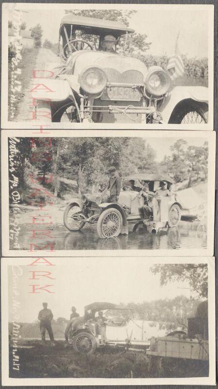 3 Vintage Car Photos early Custom Automobile w/1917  Indiana License 721046