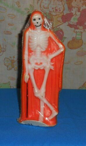 vintage Halloween GURLEY CANDLE skeleton in orange shroud new/sealed