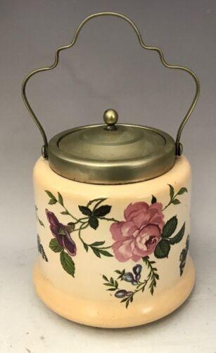 GLAZED PORCELAIN ENGLISH (EPNS) LIDDED CRACKER/BISCUIT JAR painted Floral Panels