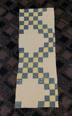 Antique Fabric Indigo Blue Irish Chain Farmhouse Cutter Quilt Pc Faded 13.5x36