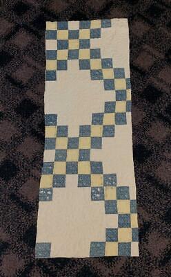 Antique Fabric Cadet Blue Yellow Irish Chain Farmhouse Cutter Quilt Pc  13.5x36