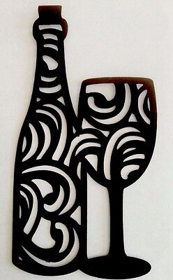 """Wine bottle with glass Die Cut Fancy 5"""" Handmade With Cardstock Black"""