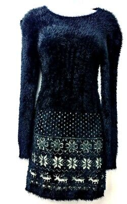 Victoria Dress Womens Size S/M Black White Snowflakes Deer Fuzzy Soft Stretch  - Fuzzy Dress