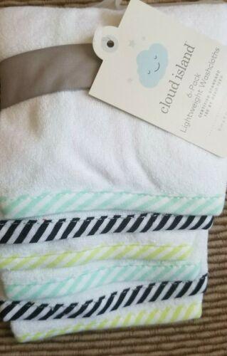 New Infant Cloud Island Green Lightweight Washcloth 6 pack