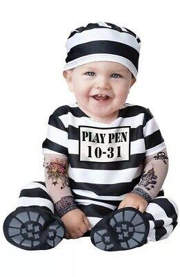 Infant Prisoner Halloween Costumes (Time Out Prisoner Halloween Costume Jumpsuit Hat Small 6-12 Months Infant)