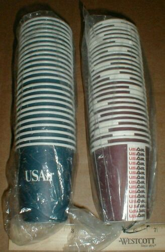 52 Vtg small US Air Airlines unused Airplane paper New 1980s USAir Coffee cups