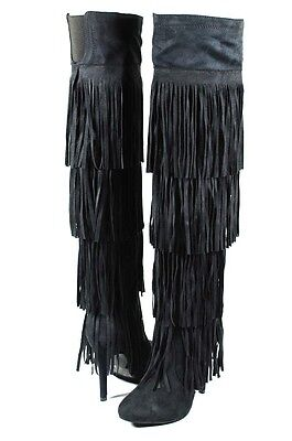 (Black Catwalk Sexy 4 Layer Fringe Skirt Stiletto Over the Knee Thigh High Boots)