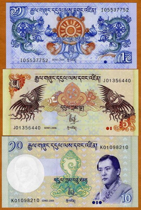 SET, Bhutan, 1, 5, 10, Ngultrum, 2006-2015, P-27-New-29, UNC