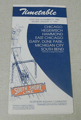 1993 South Shore Line railroad time table Chicago Michigan City South Bend Gary
