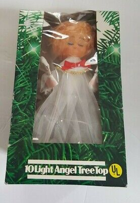 Vintage Angel Tree Topper - Light Up Christmas Plastic Face