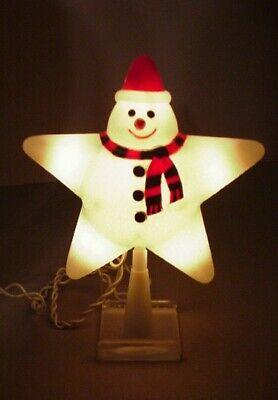 Vintage Christmas Tree Topper Snowman light up hard plastic Star decoration