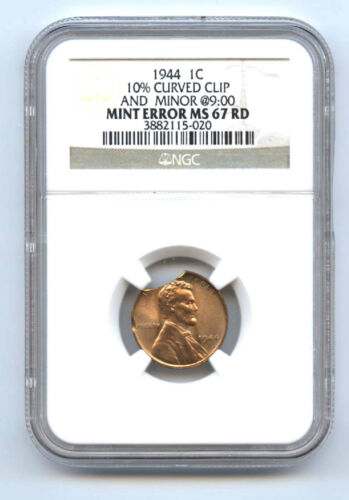 1944 Lincoln (1c) 10% Curved Clip & Minor@9:00-ngc Ms67rd-rare-mint Error-