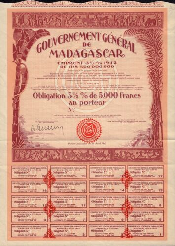AFRICA  MADAGASCAR Government Bond dd 1942 5,000 Francs - blank / not issued
