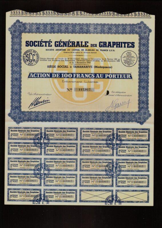 AFRICA  MADAGASCAR GRAPHITE Soc. Generale des Graphites Tananarive dd 1949