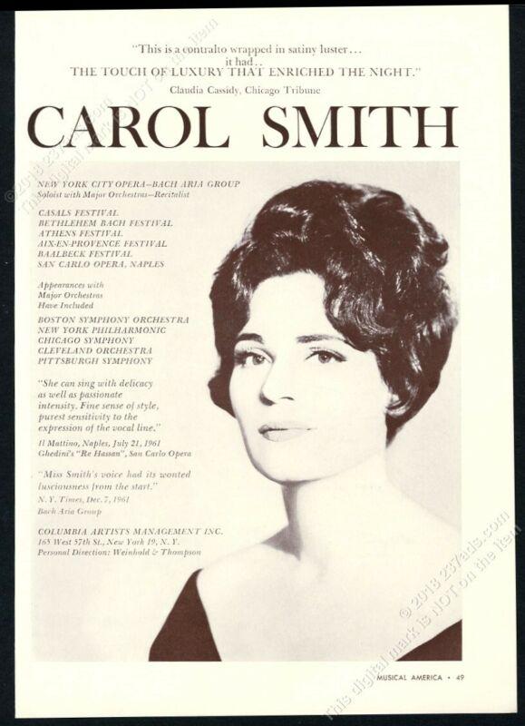 1962 Carol Smith photo USA opera singing recital tour booking trade print ad