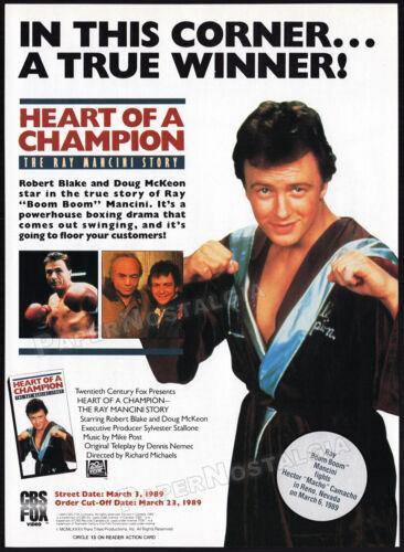 HEART OF A CHAMPION: RAY MANCINI STORY__Orig. 1989 Trade print  AD__ROBERT BLAKE