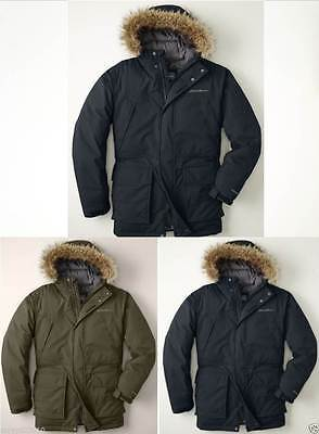 14 Nwt Eddie Bauer Mens Weatheredge Superior Down Parka Coat Black Bark Md Navy