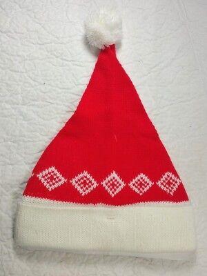 Knit Santa Hat Red White Knitted Brim Christmas  b (Knit Santa Hat)