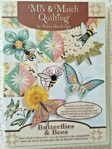 Mix Match Quilting Butterflies & Bees Anita Goodesign Embroidery Design CD NEW