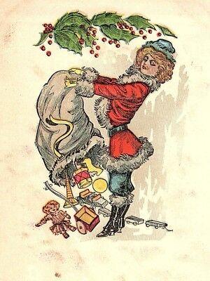 C.1910 Female Santa Toys Holly Sack Postcard F48](Female Santa)