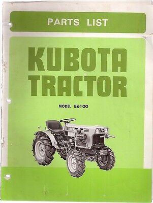 Kubota Model B6100 Tractor Parts List